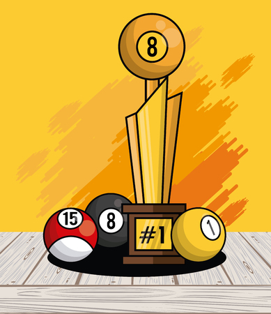 Sports balls equipment 8ball pool winner trophy fitness physical activity card splash background vector illustration graphic design