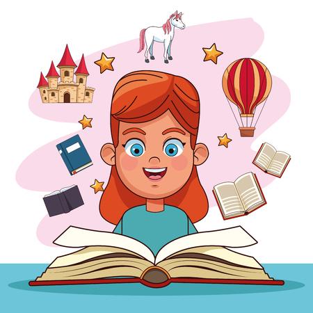Kinderen lezen sprookjes boeken tekenfilms vector illustratie grafisch ontwerp