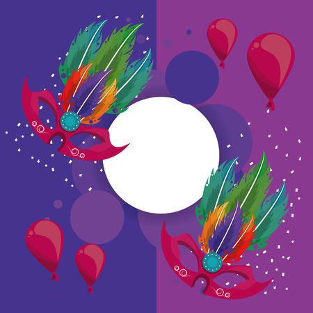 Carnival party round frame h celebration elements vector illustration graphic design Иллюстрация