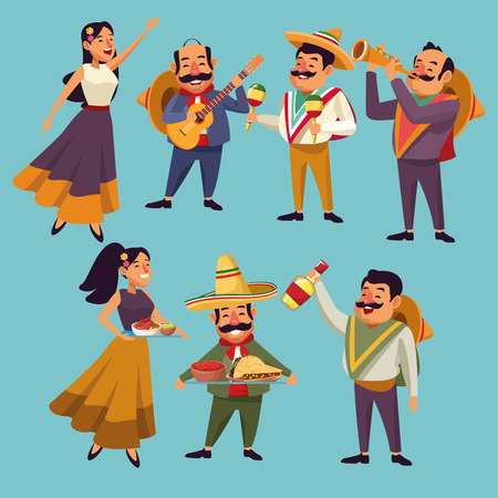Mexicans native celebrating cartoons collection vector digital image illustration