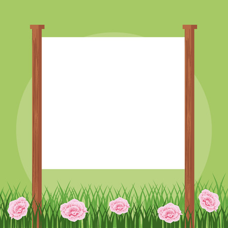 Blank frame sign in floral garden vector illustration graphic design Ilustrace