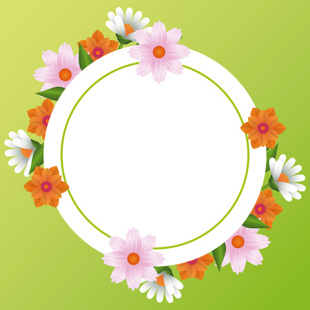 Floral frame blank colorful card vector illustration graphic design