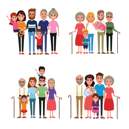 Family with kids cartoon collection set vector illustration graphic design