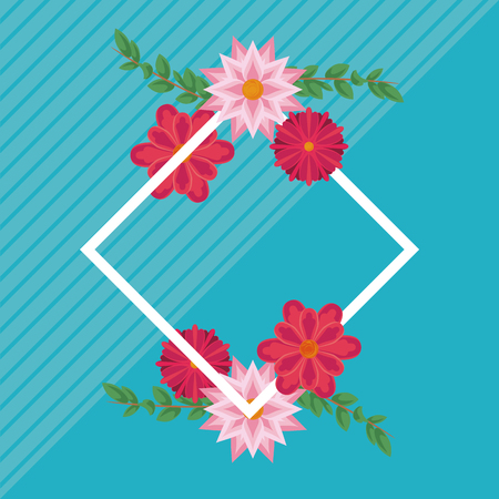 Floral rhombus frame blank card vector illustration graphic design Иллюстрация