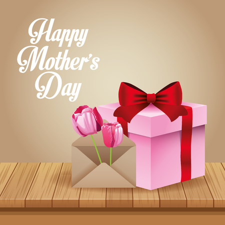 Happy mothers day card with cute gift box cartoon vector illustration graphic design