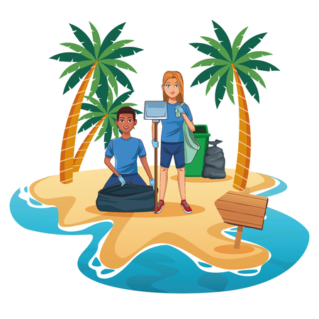 Teenagers with trash can cleaning the beach cartoon scenery vector illustration graphic design Illustration
