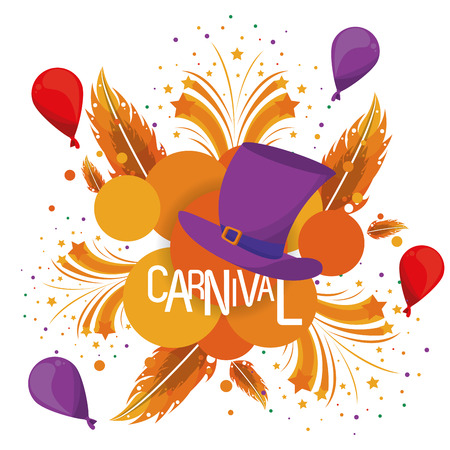 Carnival festival card banner h hat balloons and feathers vector illustration graphic design