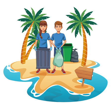 Teenagers with trash can cleaning the beach cartoon scenery vector illustration graphic design Ilustração