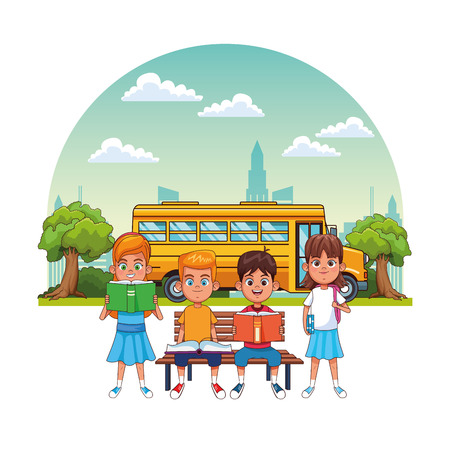 Kids students in outdoors with school bus cartoons vector illustration graphic design Vector Illustration