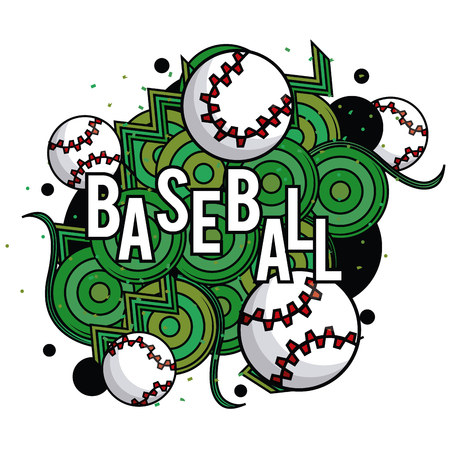 Sports balls equipment baseball vibrant bold letters colorful fitness physical activity card sticker frame vector illustration graphic design