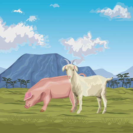 pig and goat icon cartoon wild landscape vector illustration graphic design