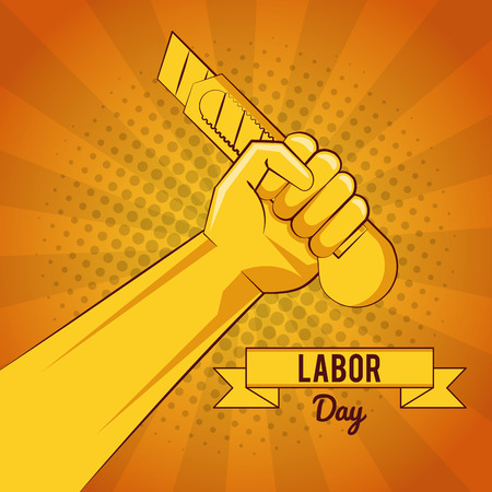 Happy labour day card with tools yellow striped background vector illustration graphic design