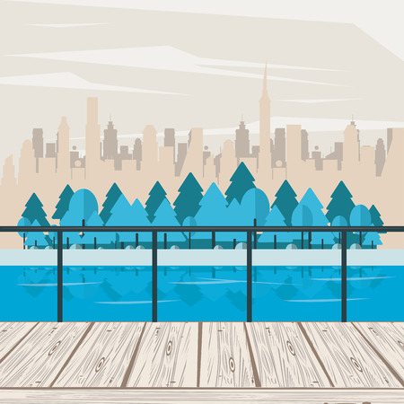Park scenery with river and trees over cityscape scenery vector illustration graphic design Stock Illustratie