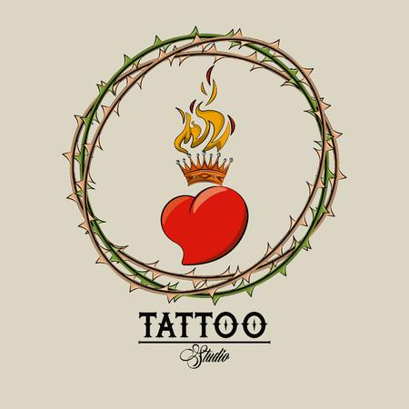 Tattoo studio old school drawings heart in flammes emblem vector illustration graphic design 免版税图像 - 122742467