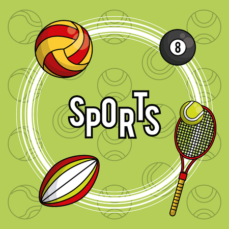 Sports balls equipment rugby tennis voleyball pool vibrant bold letters colorful fitness physical activity card background vector illustration graphic design