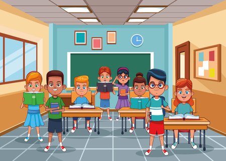 Kids students in classroom with books and supplies vector illustration graphic design