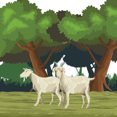 goat icon cartoon isolated wild landscape vector illustration graphic design