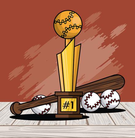 Sports balls equipment baseball bat winner trophy fitness physical activity card splash background vector illustration graphic design Stock Illustratie