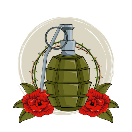 Tattoo studio old school drawings grenade and roses emblem vector illustration graphic design