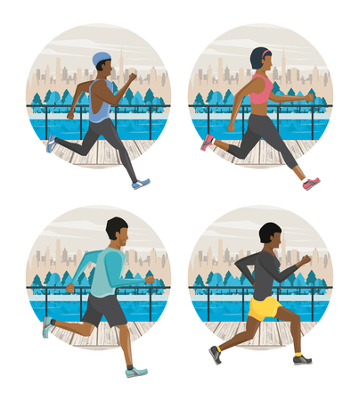 Fitness people running in the city round icons vector illustration graphic design Ilustração