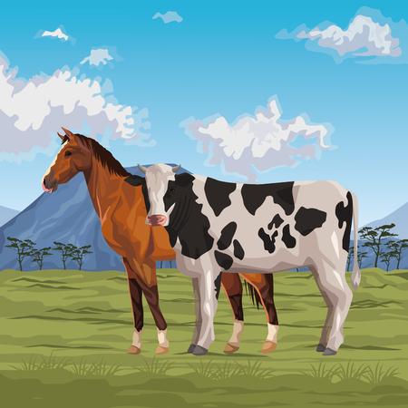 cheval et vache icône dessin animé paysage sauvage illustration vectorielle conception graphique
