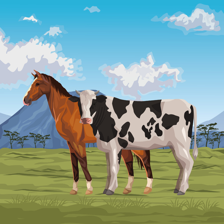 horse and cow icon cartoon wild landscape vector illustration graphic design  イラスト・ベクター素材
