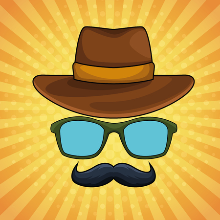 Pop art vintage male hat glasses and mustache cartoon over striped yellow background pattern vector illustration graphic design
