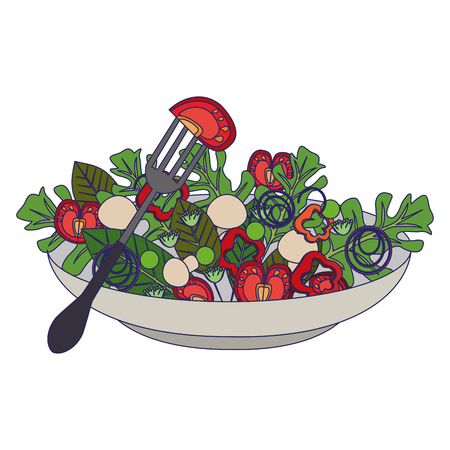 Healthy salad with vegetables in bowl vector illustration graphic design Stok Fotoğraf - 122742533