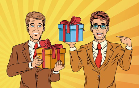 Pop art businessmen with giftbox cartoons over yellow striped background banner vector illustration graphic design Vector Illustration