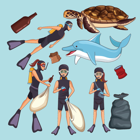 Sea trash and cleaning cartoons collection vector illustration graphic design
