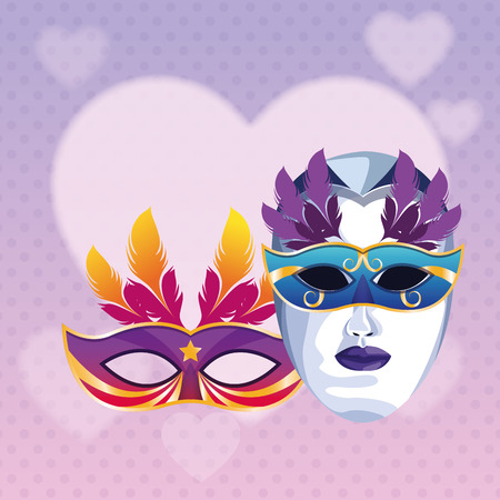 masks with feathers icon cartoon heart background vector illustration graphic design Ilustração