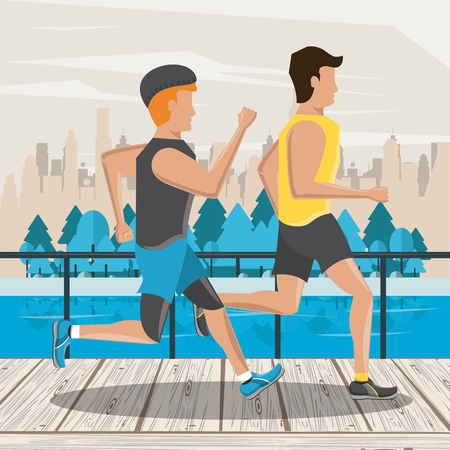 Fitness frineds couple running in the city park scenery vector illustration graphic design Stockfoto - 122742564