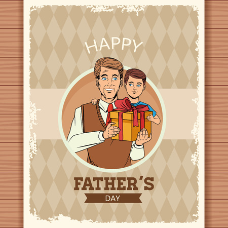Happy fathers day grunge card over wooden background with pop art cartoons dad and son with gift box vector illustration graphic design