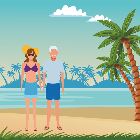 summer vacation family parents at beach cartoon vector illustration graphic design Vectores