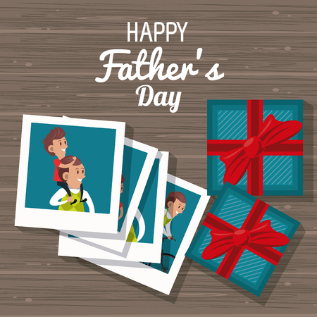 Happy fathers day card with cute family cartoons vector illustration graphic design Фото со стока - 122742603