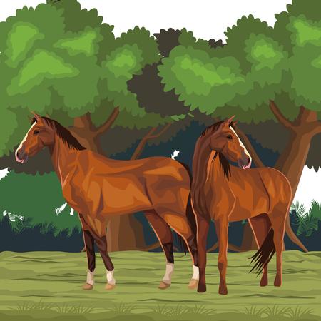 horse icon cartoon isolated wild landscape vector illustration graphic design