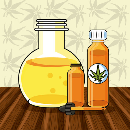 Cannabis medical on wooden floor cartoons vector illustration graphic design