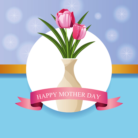Happy mothers day card with flowers vector illustration graphic design Фото со стока - 122742627