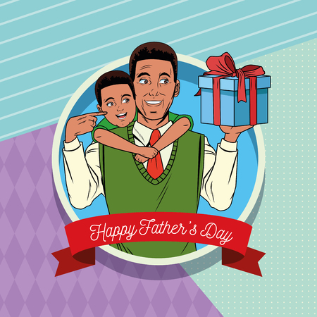 Happy fathers day card with father and son with gift box pop art cartoon ribbon banner vector illustration graphic design