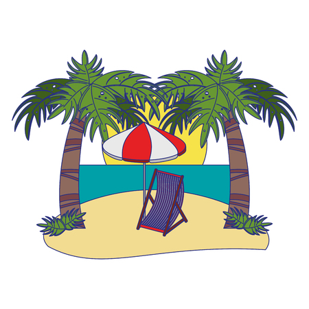 Summer and beach travel cartoon vector illustration graphic design Ilustrace