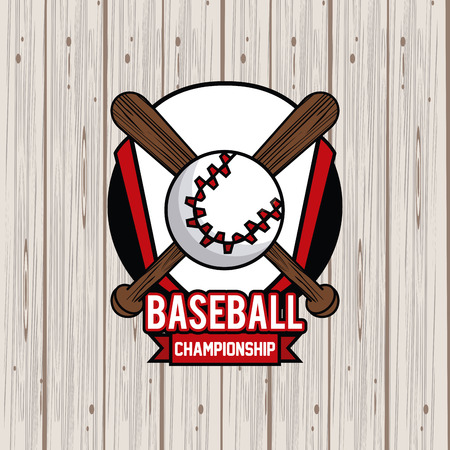 Sports balls equipment baseball bats vibrant bold letters colorful badge fitness physical activity card background ribbon banner vector illustration graphic design