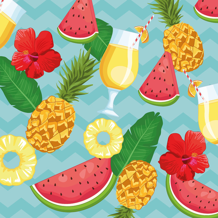 tropical drink and fruits leaves icon cartoon background vector illustration graphic design