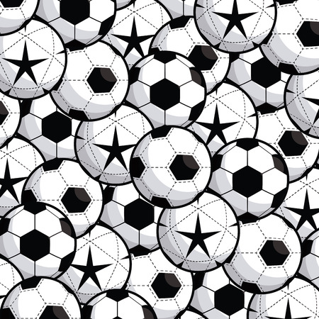 Sports equipment football soccer balls with stars mosaic background fitness physical activity vector illustration graphic design 向量圖像