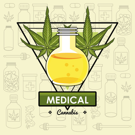 Cannabis medical card natural medicine concept vector illustration graphic design