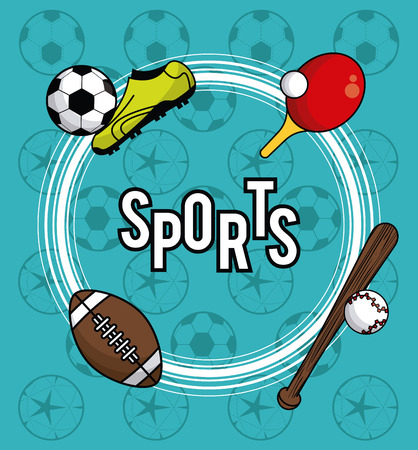 Sports balls equipment football soccer boot baseball bat ping pong vibrant bold letters colorful fitness physical activity card background vector illustration graphic design