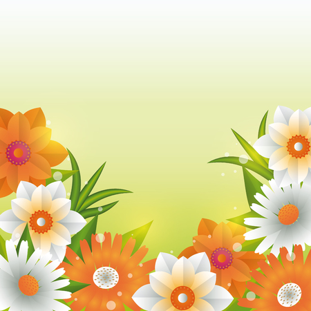 Beautiful flowers and leaves green background vector illustration graphic design