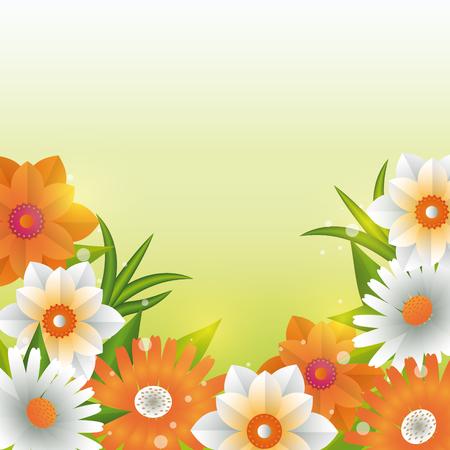 Hermosas flores y hojas de fondo verde ilustración vectorial diseño gráfico