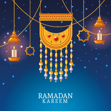 ramadan kareem with pendant and islamic art ramadan kareem with oillamp and mosque shape vector illustration