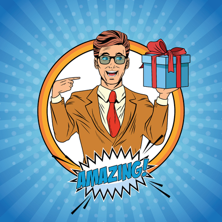 Pop art businessman with gift box and amazing word in speech bubble over striped background cartoon vector illustration graphic design 일러스트