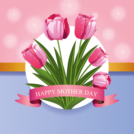 Happy mothers day card with flowers vector illustration graphic design Reklamní fotografie - 122743059